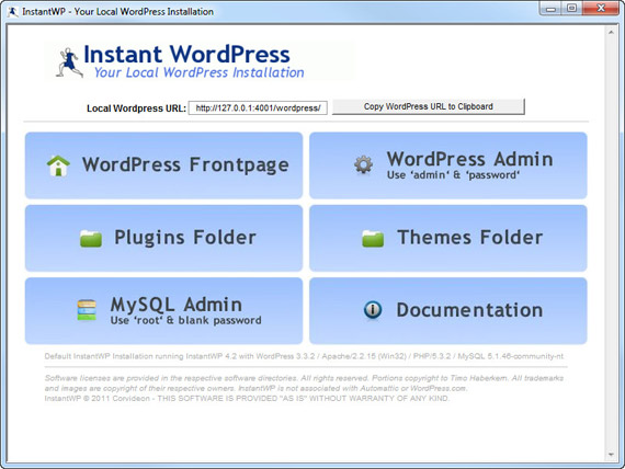L'interface d'accueil d'Instant WordPress