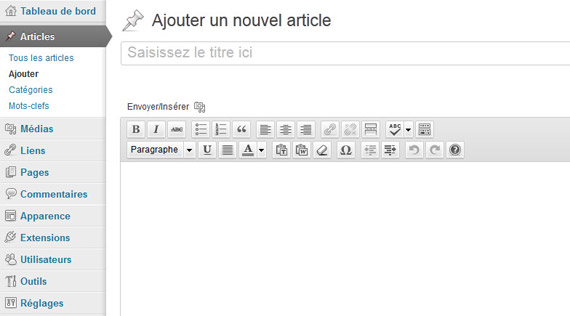 L'administration de WordPress