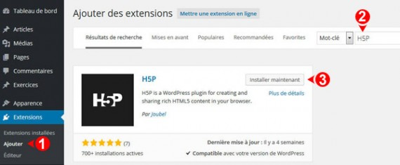 Installer le plugin WordPress