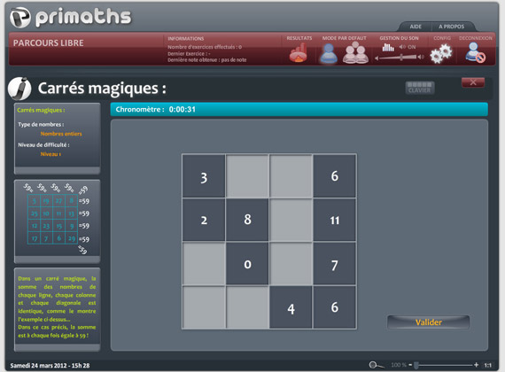 L'interface de Primaths